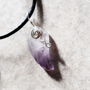Amethyst Angel Wing Necklace - Love + Protection